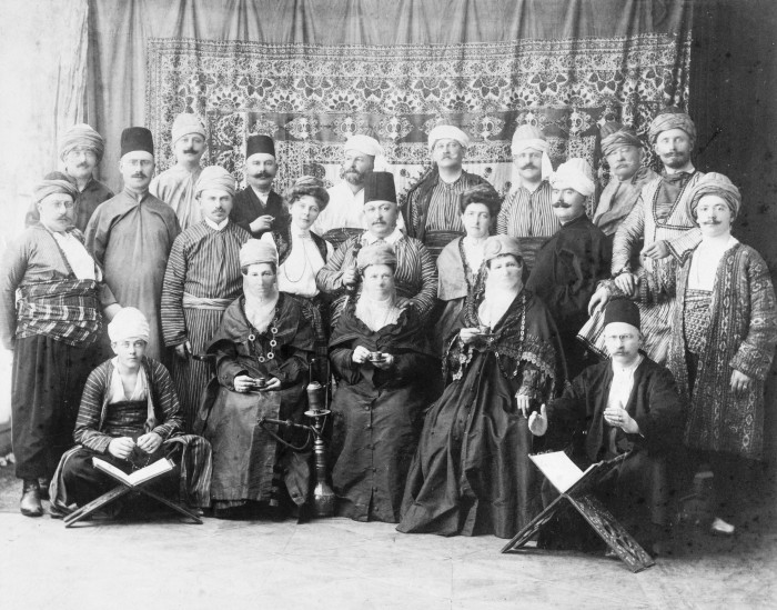 German tourists in Ottoman costumes